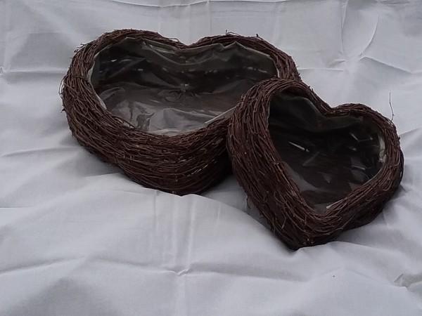 Birkenreisig Herz natur mit Folie